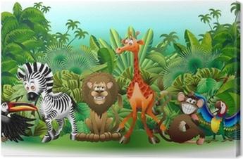 Canvas Animali Selvaggi Cartoon Giungla-Wilde dieren Achtergrond-Vector