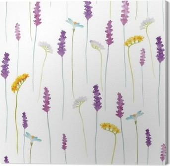 Canvas Aquarel bloemen patroon