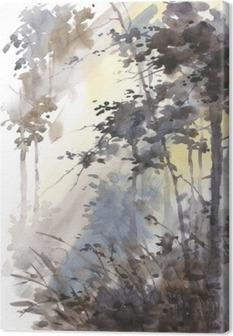 Canvas Aquarel hand geschilderd abstract landschap, diep bos, drieën in de zon.