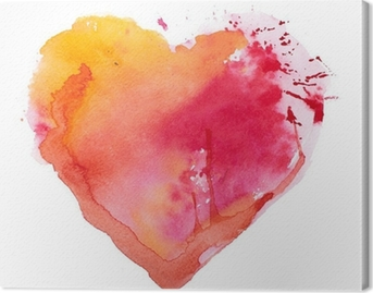 Canvas Aquarel hart. Concept - liefde, relatie, kunst, schilderen