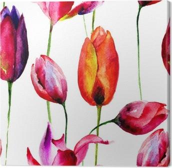 Canvas Aquarel illustratie van bloemen van Tulpen
