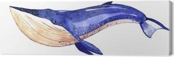 Canvas Aquarel walvis, met de hand geschilderd illustratie op een witte achtergrond