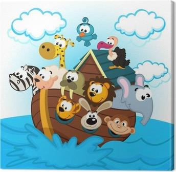 Canvas Ark van Noach met dieren - vector illustratie