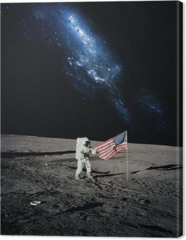 Canvas Astronaut lopen op de maan. Elementen van deze afbeelding geleverd door N