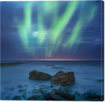 Canvas Aurora borealis over de zee