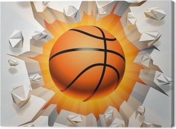 Canvas Basketbal bal en gebarsten muur.