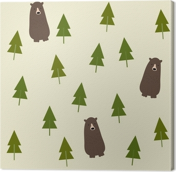 Canvas Bear and forest seamless background.