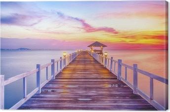 Canvas Beboste brug in de haven tussen zonsopkomst