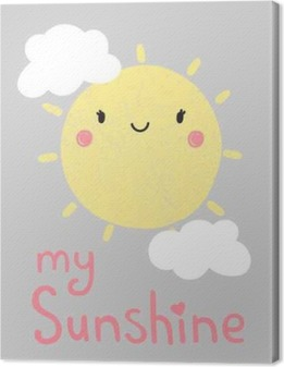 Canvas Beeldverhaal zon grafisch, vector, illustratie