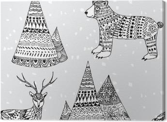 Canvas Beer, herten en de bergen hand getekende winter patroon