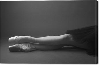 Canvas Benen prachtige ballerina's in pointes, zwart-wit