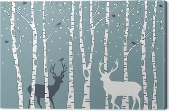 Canvas Berken met herten, vector achtergrond