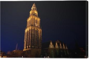 Canvas Beroemde Martinitoren (Martinitoren) in Groningen in de nacht