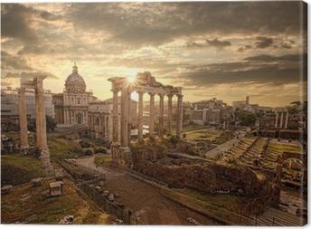Canvas Beroemde Romeinse ruïnes in Rome, hoofdstad van Italië