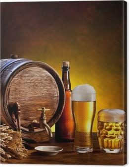 Canvas Bier vat met bierglazen op een houten tafel.