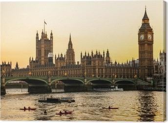 Canvas Big Ben Clock Tower en het Parlement huis bij City of Westminster,