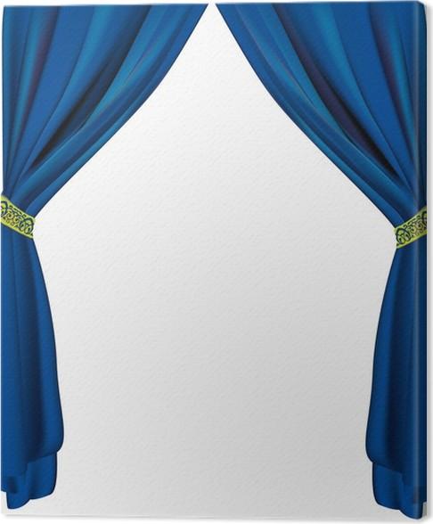 Canvas Blauwe gordijnen • Pixers® - We leven om te veranderen