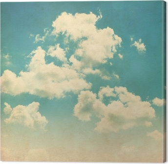 Canvas Blauwe hemel met wolken in grunge-stijl.