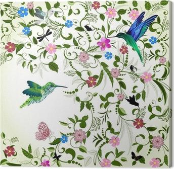 Canvas Bloemen achtergrond met vogel
