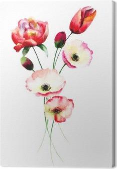 Canvas Bloemen papaver en Tulpen