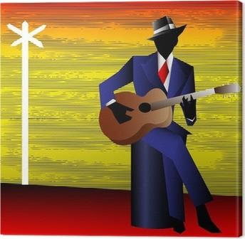 Canvas Blues Gitarist at the Crossroads, Vector Achtergrond voor een Conce