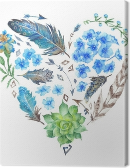 Canvas Boho Style Watercolor Heart Shape