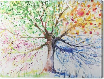Canvas Boom met vier seizoenen