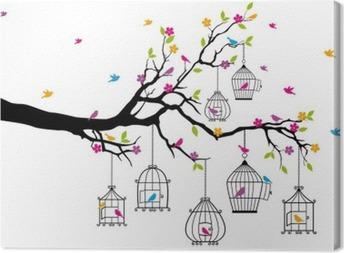 Canvas Boom met vogels en vogelkooien, vector