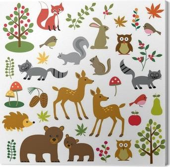 Canvas Bos wilde dieren clipart