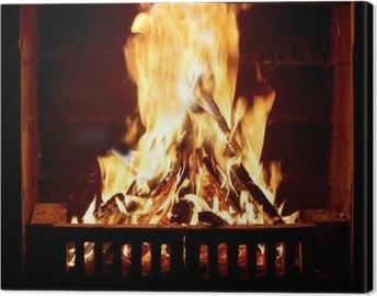 Canvas Brandend vuur in de open haard