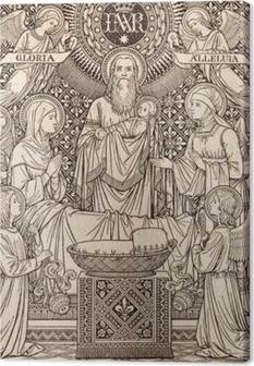 Canvas BRATISLAVA, Slowakije, november - 21, 2016: De lithografie van de presentatie in de tempel door onbekende kunstenaar met de initialen FMS (1893) en gedrukt door Typis Friderici Pustet.