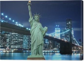 Canvas Brooklyn Bridge en het Vrijheidsbeeld bij nacht