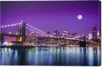 Canvas Brooklyn Bridge en NYC skyline met volle maan