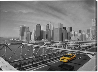 Canvas Brooklyn Bridge Taxi, New York