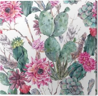 Canvas Cactus aquarel naadloos patroon in boho stijl.