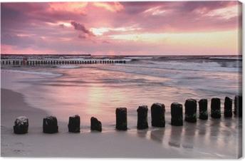 Canvas Calmness.Beautiful zonsondergang op de Baltische zee.