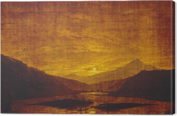 Canvas Caspar David Friedrich - Horská říční krajina - Reproductions