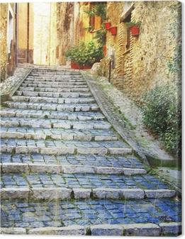 Canvas Charmante oude straten van middeleeuwse dorpen van Italië