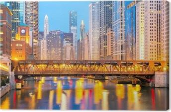 Canvas Chicago downtown en de rivier