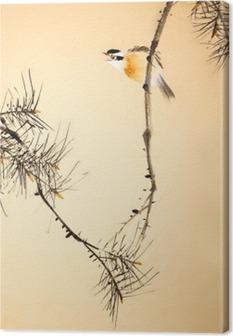 Canvas Chinese inkt schilderij vogel en planten