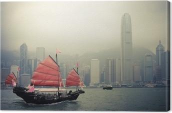 Canvas Chinese stijl zeilboot in Hongkong