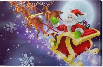 Canvas Christmas Santa vliegen in zijn slee of slee