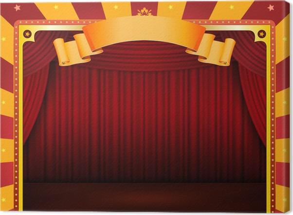 Canvas Circus Poster met Stage En Rode Gordijnen • Pixers® - We ...
