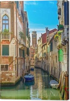 Canvas Cityscape van Venetië, water kanaal, kerk en gebouwen. Italië