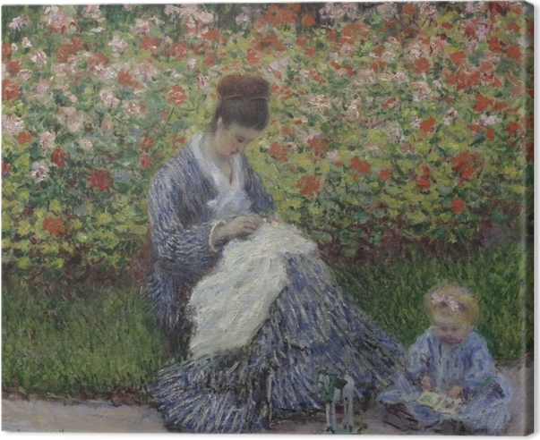 Canvas Claude Monet - Camille Monet met een kind in de tuin van de kunstenaar in Argenteuil - Reproducties