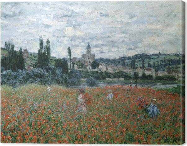 Canvas Claude Monet - Klaprozenveld in de buurt van Argenteuil - Reproducties