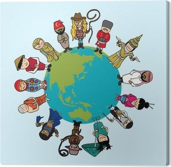 Canvas Concept diversiteit, mensen cartoons over de planeet aarde met onderscheid