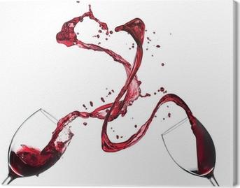 Canvas Concept van rode wijn spatten van glazen op witte achtergrond