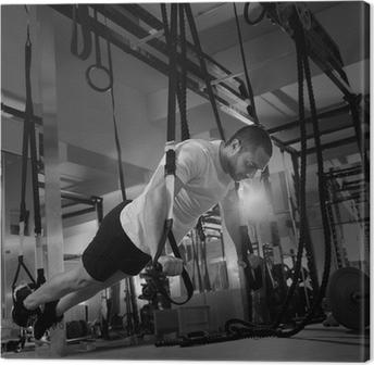 Canvas Crossfit fitness TRX push ups man workout