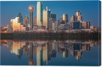 Canvas Dallas skyline weerspiegeld in Trinity River bij zonsondergang